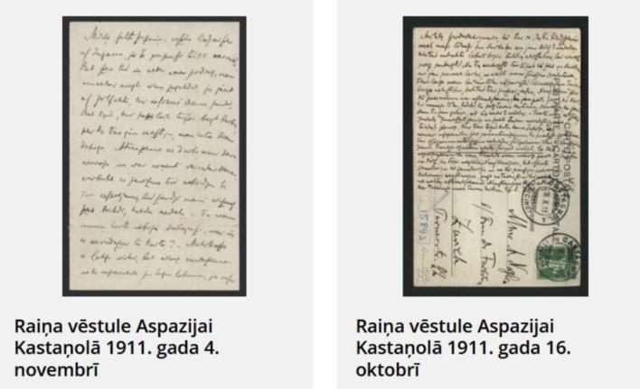 Divas Aspazijas un Raiņa rakstītas pastkartes.