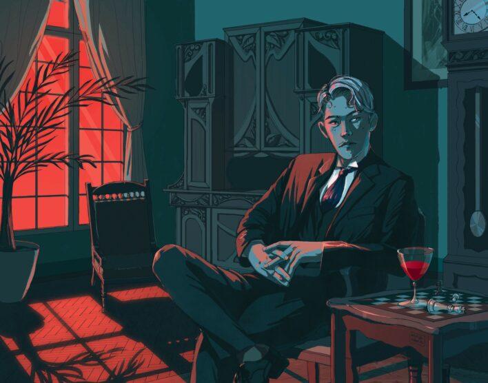 """Annas Ābolas ilustrācija romānam """"Zelts"""". Tajā attēlos romāna varonis Roberts Sveilis. Zīmētais jaunskungs sēž istabā pie galda, no loga krīt sarkana gaisma, logam priekšā puķupods ar palmu. Sveilis sēž pie galda, pārlicis kāju pār kāju. Uz galda dzēriena glāze."""