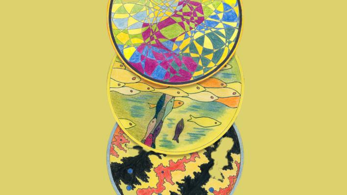 Ojāra Vācieša un Māra Čaklā dzeja - Liepājā. Afišā redzamas trīs Ojāra Vācieša krāsotas mandalas.